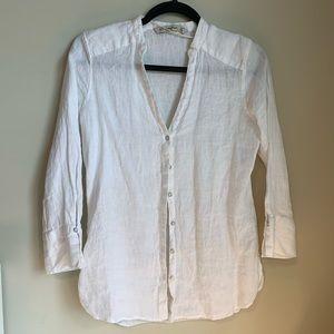 Zara linen button-up flowy dress white shirt XS